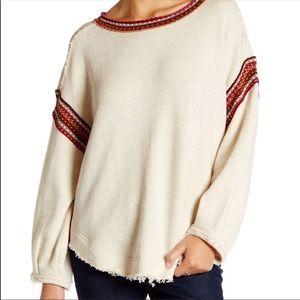 Free People | Cream Trudy Pullover Sweatshirt